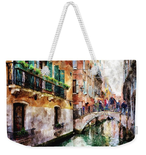 People On Bridge Over Canal In Venice, Italy - Watercolor Painting Effect Weekender Tote Bag