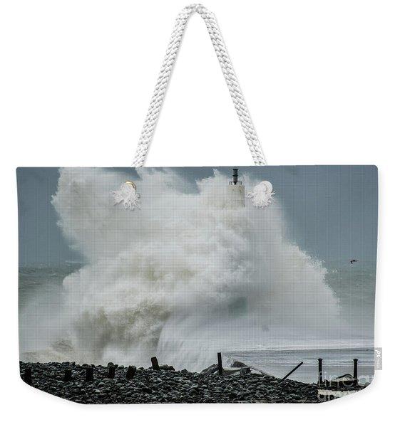 Storm Brian Hitting Aberystwyth Lighthouse Weekender Tote Bag