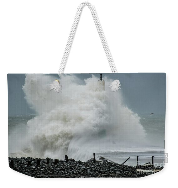Storm Brian Hitting Aberystwyth Lighthouse Weekender Tote Bag