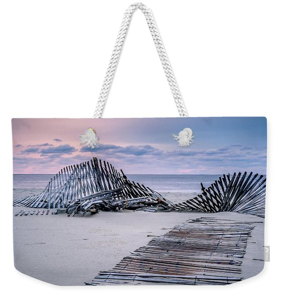 Storm Fence Sunrise Weekender Tote Bag