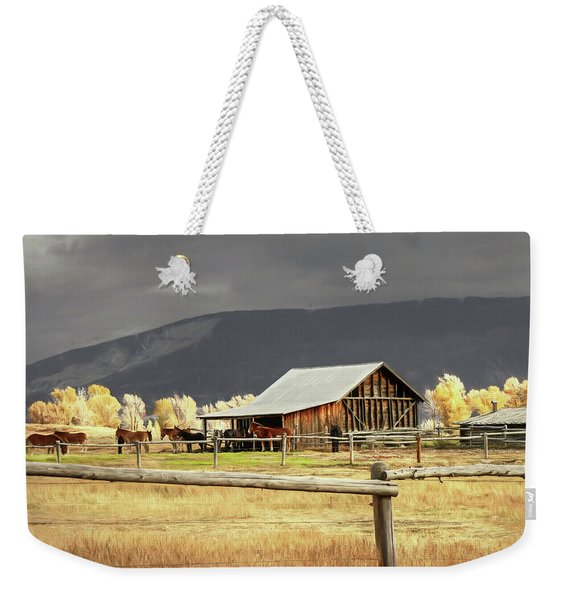 Stormy Autumn Day In Wyoming Weekender Tote Bag