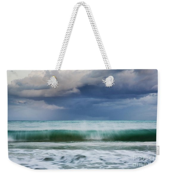 Weekender Tote Bag featuring the photograph Stormy Ocean Wave - Kailua, Oahu by Charmian Vistaunet