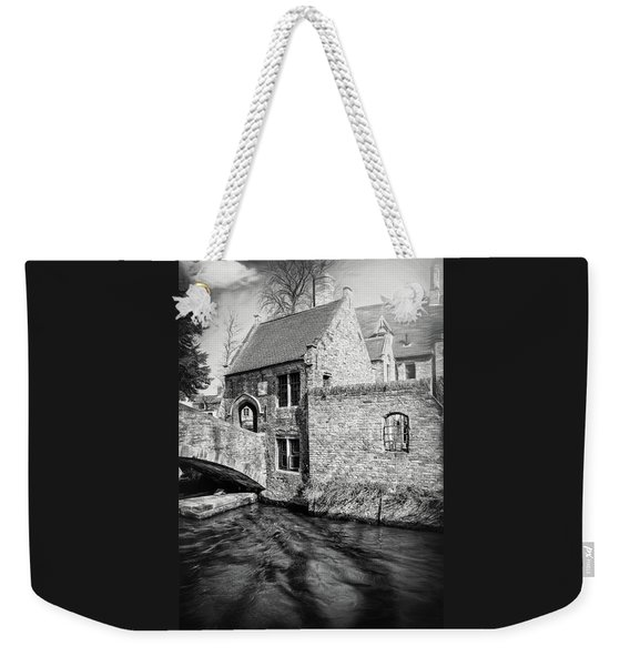 Storybook Bruges Belgium Black And White Weekender Tote Bag