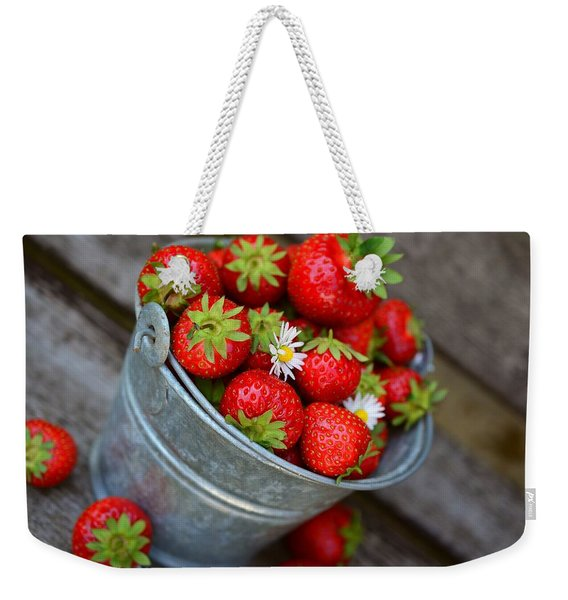 Strawberries And Daisies Weekender Tote Bag