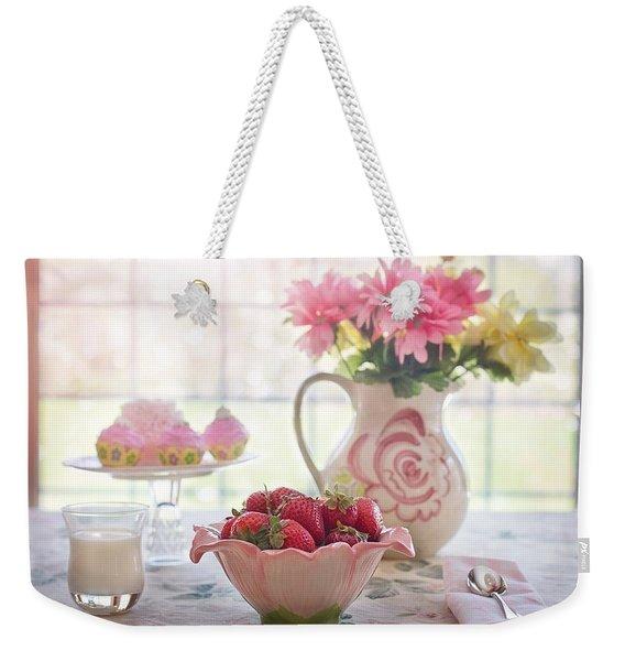 Strawberry Breakfast Weekender Tote Bag