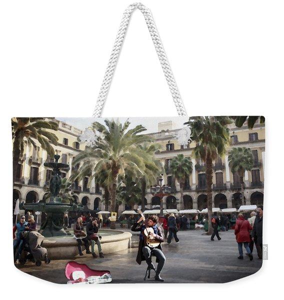 Street Music. Guitar. Barcelona, Plaza Real. Weekender Tote Bag