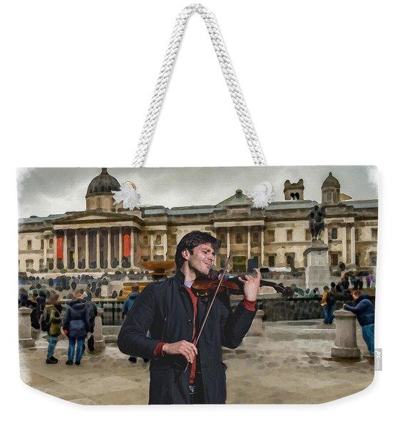 Street Music. Violin. Trafalgar Square. Weekender Tote Bag