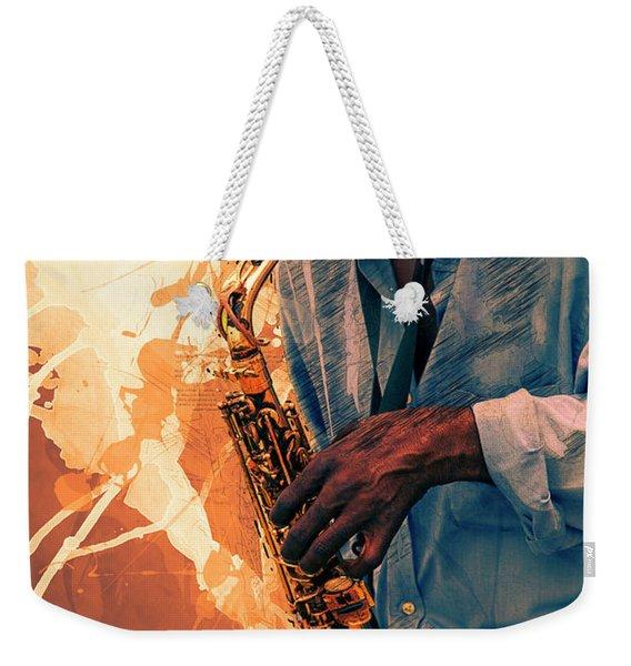 Street Sax Player Weekender Tote Bag