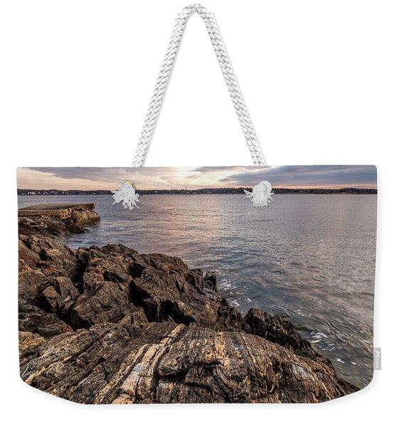 Striations. Leading Lines In The Rocks Weekender Tote Bag