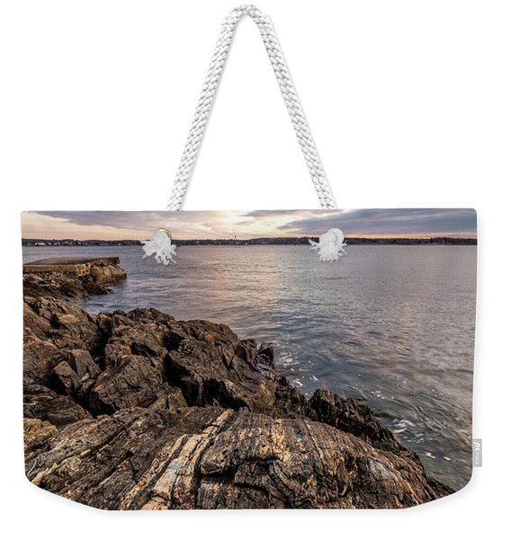 Weekender Tote Bag featuring the photograph Striations. Leading Lines In The Rocks by Jeff Sinon