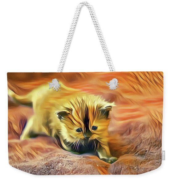 Weekender Tote Bag featuring the digital art Striped Forehead Kitten by Don Northup
