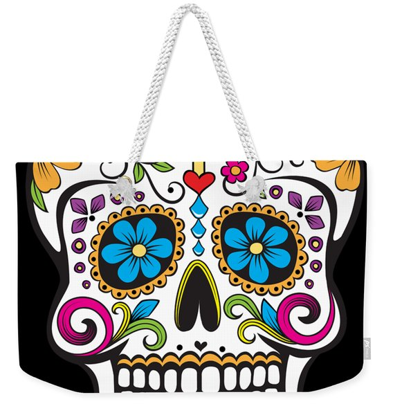 Weekender Tote Bag featuring the digital art Sugar Skull Day Of The Dead by Flippin Sweet Gear