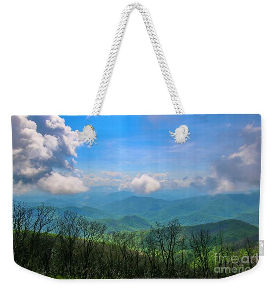 Weekender Tote Bag featuring the photograph Summer Mountain View by Tom Claud