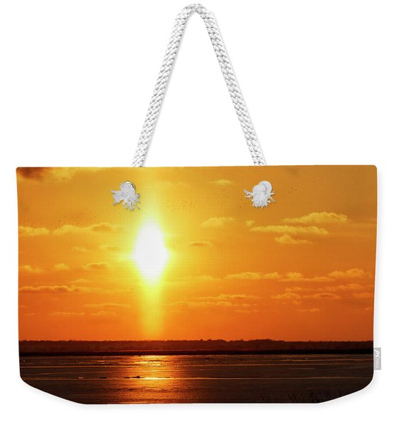 Weekender Tote Bag featuring the photograph Sun Pillar 01 by Rob Graham