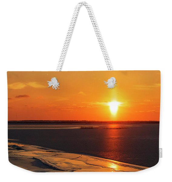 Weekender Tote Bag featuring the photograph Sun Pillar 02 by Rob Graham