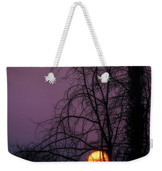 Sun Setting Through Trees Weekender Tote Bag