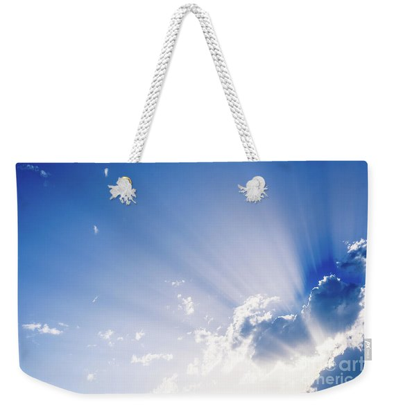 Sunbeams Rising From A Large Cloud In Intense Blue Sky On A Summer Afternoon Weekender Tote Bag