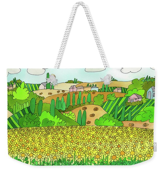 Weekender Tote Bag featuring the painting Sunflower French Countryside by Suzy Mandel-Canter