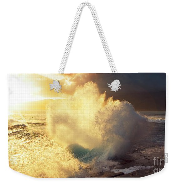 Weekender Tote Bag featuring the photograph Sunlit Wave - Hawaii by Charmian Vistaunet