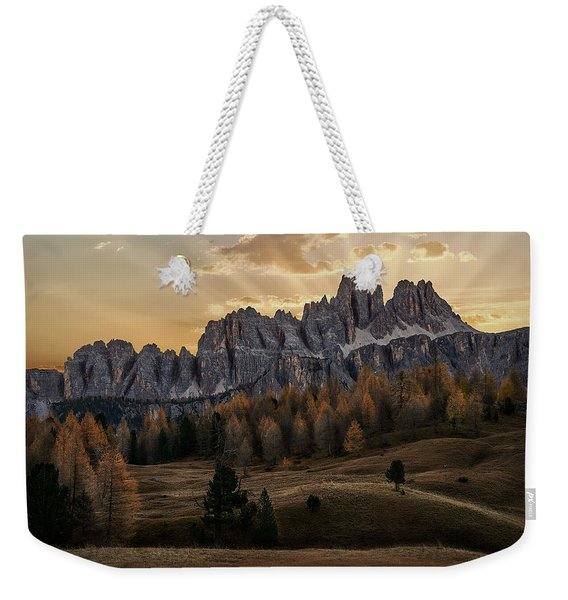 Sunrise In The Dolomites Weekender Tote Bag