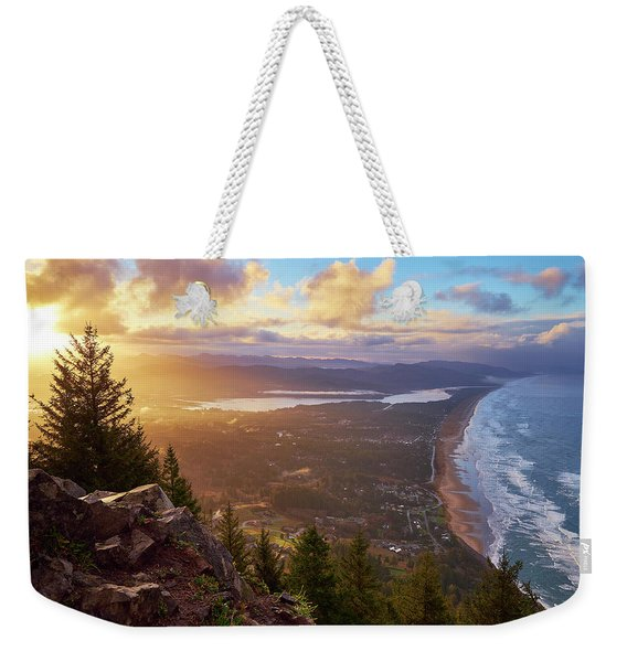 Weekender Tote Bag featuring the photograph Sunrise On Neahkahnie by Whitney Goodey