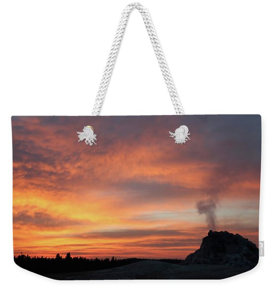 Sunset 0ver White Dome Geyser Weekender Tote Bag