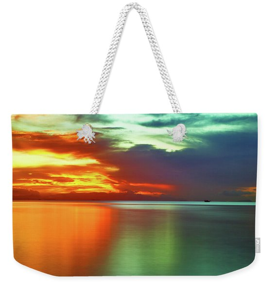 Sunset And Boat Weekender Tote Bag