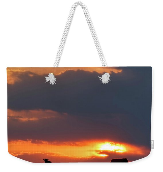 Weekender Tote Bag featuring the photograph Sunset And Cows 01 by Rob Graham