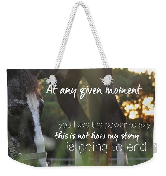 Weekender Tote Bag featuring the photograph Sunset Grazing Quote by Jamart Photography