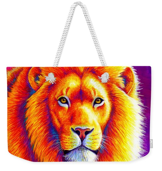 Sunset On The Savanna - African Lion Weekender Tote Bag