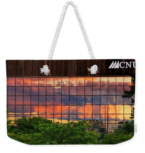 Sunset Reflections On A Wall Of Glass Weekender Tote Bag