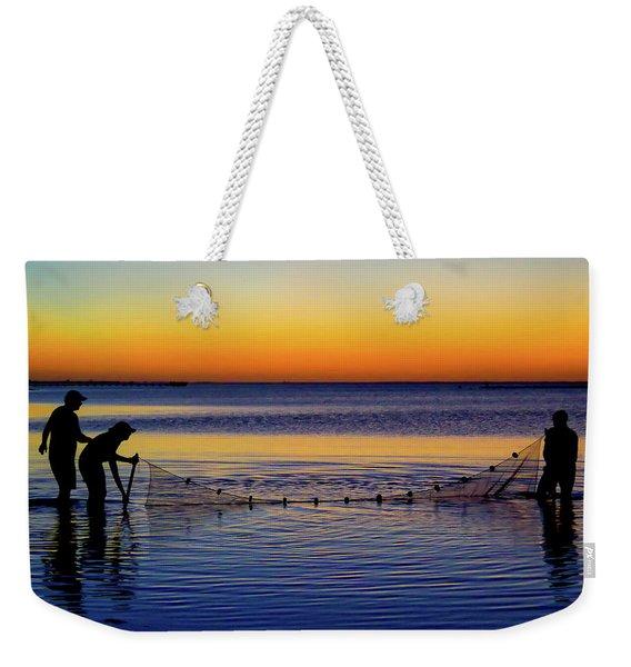 Sunset Seining On Copano Bay Weekender Tote Bag