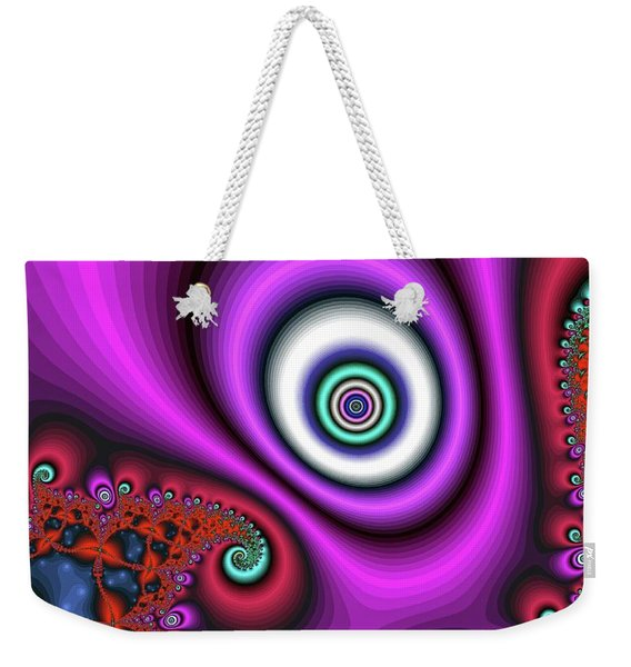 Weekender Tote Bag featuring the digital art Super Hurricane Eye Magenta by Don Northup