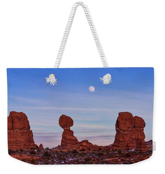 Super Moonrise At Balanced Rock Weekender Tote Bag