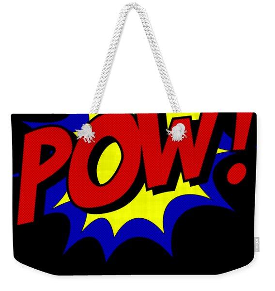 Weekender Tote Bag featuring the digital art Superhero Pow by Flippin Sweet Gear