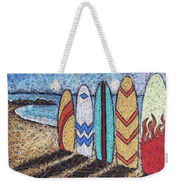 Surfboard Line Up Weekender Tote Bag
