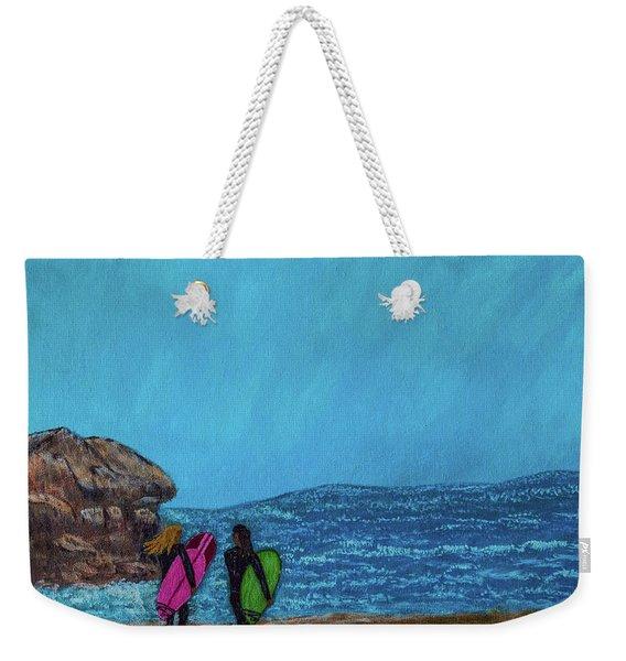 Surfer Girls Weekender Tote Bag