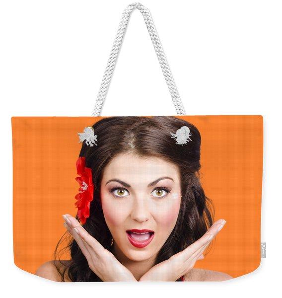 Surprised Vintage Woman Weekender Tote Bag