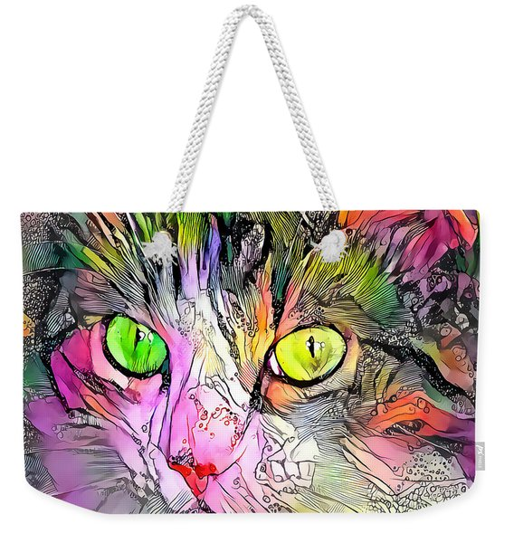 Surreal Cat Wild Eyes Weekender Tote Bag
