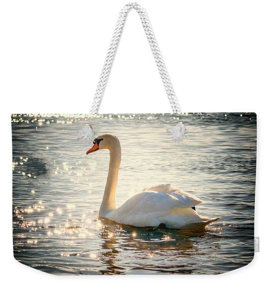 Swan On Golden Waters Weekender Tote Bag