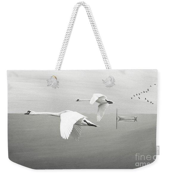 Swans At Sunrise Bw Weekender Tote Bag