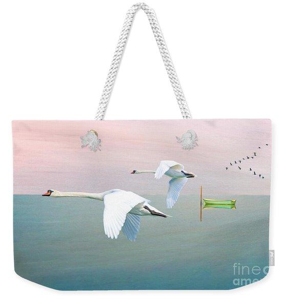 Swans At Sunrise Weekender Tote Bag
