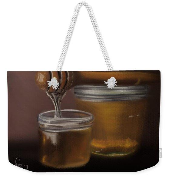 Weekender Tote Bag featuring the painting Sweet Honey by Fe Jones