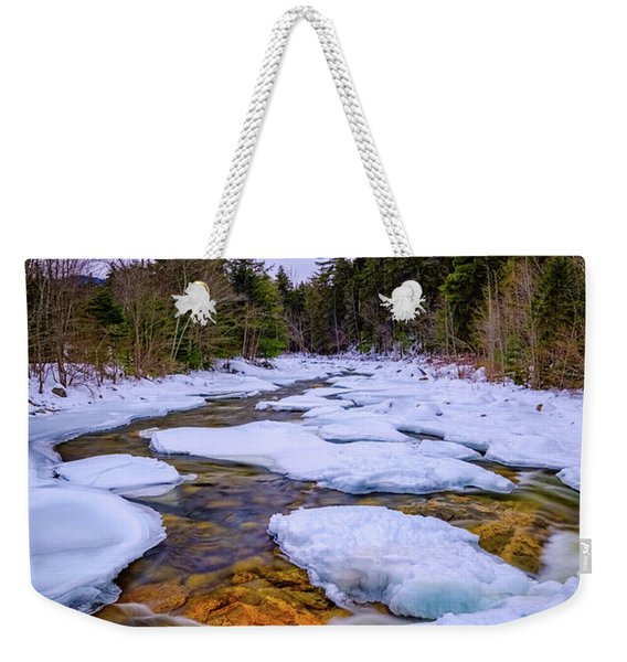 Weekender Tote Bag featuring the photograph Swift River Winter  by Jeff Sinon