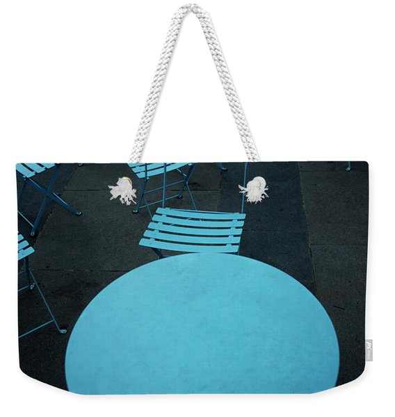 Tables And Chairs At A Cafe, Old Weekender Tote Bag