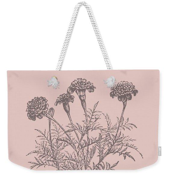 Tagetes Patula Blush Pink Flower Weekender Tote Bag