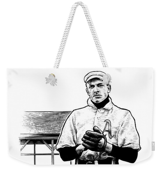 Weekender Tote Bag featuring the drawing Take Me Out To The Ballgame by Clint Hansen