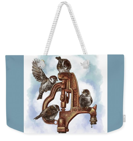 Weekender Tote Bag featuring the drawing Talk Around The Watercooler by Clint Hansen