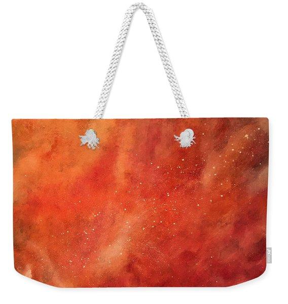 Tangerine Nebula Cloud Weekender Tote Bag
