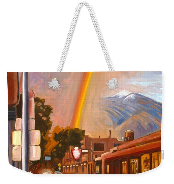 Weekender Tote Bag featuring the painting Taos Rainbow by Art West